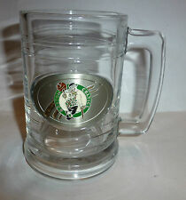 Boston CELTICS 15 ounce Heavy Glass Tankard Mug with Pewter Logo