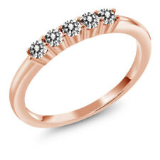 0.33 Ct Round White Diamond 18K Rose Gold Five Stone Anniversary Wedding Band