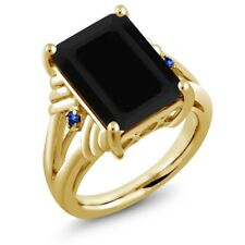 7.40 Ct Octagon Black Onyx Blue Sapphire 18K Yellow Gold Plated Silver Ring