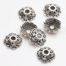 100/200Pcs Tibet Silver Plated Crafted Hollow Symmetry Bead Caps Handcraft 8x3mm