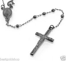3mm BLACK Rhodium Rosary Chain Necklace Crucifix Chain Real 925 Sterling Silver