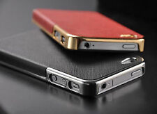 Luxury PU Leather with gold Frame Chrome Hard Back Case Cover For iPhone 5 5s