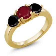 2.15 Ct Round Red Ruby Black Diamond 18K Yellow Gold Plated Silver Ring