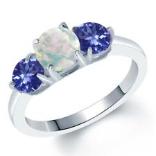 1.57 Ct Round White Simulated Opal Blue Tanzanite AAAA 925 Sterling Silver Ring