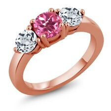 2.20 Ct Round Pink Mystic Topaz White Topaz 18K Rose Gold Plated Silver Ring