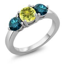 2.10 Ct Round Canary Mystic Topaz Blue Diamond 925 Sterling Silver Ring