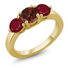 2.12 Ct Round Red Garnet Red Ruby 18K Yellow Gold Plated Silver Ring