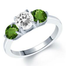 1.70 Ct Round White Quartz Green Chrome Diopside 925 Sterling Silver Ring