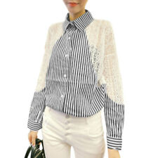 Woman Vertical Stripes Lace Panel Point Collar Long Sleeves Shirt