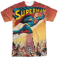 Superman City Flying All Over Print Sublimation Poly Adult Shirt S-3XL