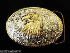 Heritage Collection Aminco Silver Gold Plated Large oval Eagle Head belt buckle