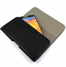 For Motorola Black Faux Leather Horizontal Pouch Belt Clip Wallet Carrying Case
