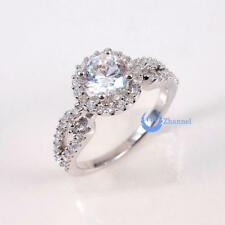 1ct Engagement Solitaire RING w/Accent Signity CZ Rhodium over Sterling Silver