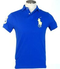 Ralph Lauren Custom Fit Blue Short Sleeve Polo Shirt Big Yellow Polo Pony Mens