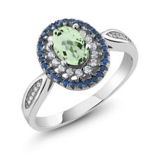 1.60 Ct Oval Green Amethyst 925 Sterling Silver Ring