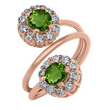 1.60 Ct Round Green Chrome Diopside 18K Rose Gold Plated Silver Ring
