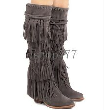 Top Fashion Womens Bohemian/BOHO Tassels Knee High Boots Bandage Block Heel Boot