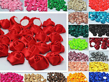 wholesale DIY 5/50/100PCS Satin Ribbon Rose Flower 25mm Craft/Wedding Appliques