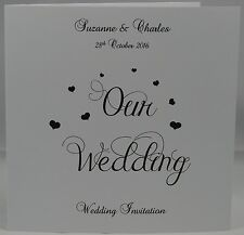 White Personalised Invites Wedding Day Invitations And Envelopes Heart Design