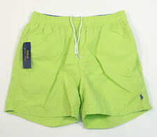 Polo Ralph Lauren Green Nylon Brief Lined Swim Trunks Blue Polo Pony Mens NWT