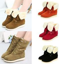 Women Winter Boots Cuffed Lace Up Faux Suede Fur Lined Snow Mid Calf Shoes SV2X