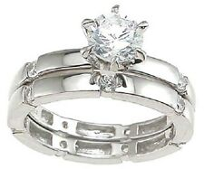 1Ct Brilliant Cut Cz Eternity Engagement Wedding Ring Set 925 Sterling Silver