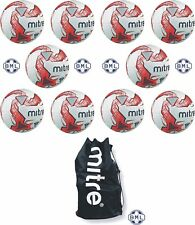 10 x MITRE IMPEL TRAINING FOOTBALLS + BALL SACK - WHITE/RED - SIZES 3,4 & 5