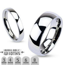 8mm Glossy Mirror Polished Traditional Wedding Band Ring 316L Stainless Steel