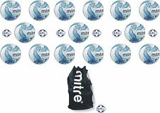 15 x MITRE IMPEL TRAINING FOOTBALLS + BALL SACK - WHITE/BLUE - SIZES 3,4 & 5