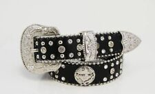 Kids Western Belt Cowgirl Cowboy Silver Buckle Longhorn Steer Head Concho Black
