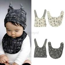 Todddler Baby Infant Cat Pattern Hat Cap+Towel Saliva Lunch Bibs Cotton Scarf