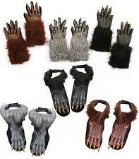 Adult Werewolf Costume Accessory Shoe Covers or Gloves Brown Black or Grey fnt