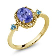 Tanzanite Simulated Topaz 18K Yellow Gold Plated Silver Ring With Accent Diamond