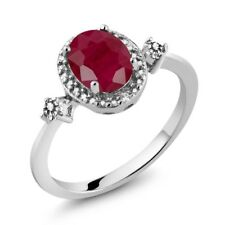 1.74 Ct Oval Red Ruby White Diamond 925 Sterling Silver Ring