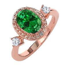 2.27 Ct Oval Simulated Emerald White Topaz 18K Rose Gold Plated Silver Ring