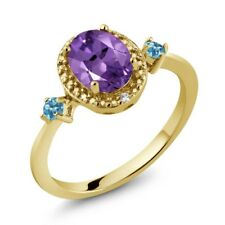 Amethyst Simulated Topaz 18K Yellow Gold Plated Silver Ring With Accent Diamond
