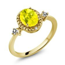 1.44 Ct Canary Mystic Topaz White Diamond 18K Yellow Gold Plated Silver Ring