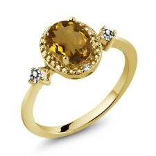 1.14 Ct Oval Whiskey Quartz White Diamond 18K Yellow Gold Plated Silver Ring