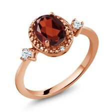 1.31 Ct Oval Red Garnet White Created Sapphire 18K Rose Gold Plated Silver Ring