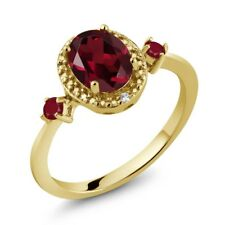 1.60 Ct Oval Red Rhodolite Garnet Red Ruby 18K Yellow Gold Plated Silver Ring