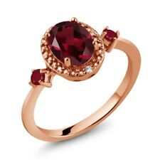 1.60 Ct Oval Red Rhodolite Garnet Red Ruby 18K Rose Gold Plated Silver Ring