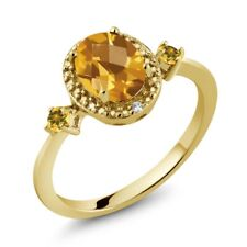 1.40 Ct Oval Checkerboard Yellow Citrine 18K Yellow Gold Plated Silver Ring