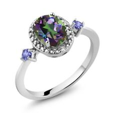 1.47 Ct Oval Mystic Topaz Tanzanite 925 Sterling Silver Ring With Accent Diamond