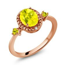 1.44 Ct Oval Canary Mystic Topaz Canary Diamond 18K Rose Gold Plated Silver Ring