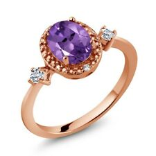1.17 Ct Oval Purple Amethyst White Topaz 18K Rose Gold Plated Silver Ring