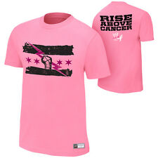 WWE CM PUNK RISE ABOVE CANCER PINK OFFICIAL T-SHIRT ALL SIZES NEW