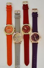 NEW-GENEVA PLATINUM RED,ORANGE,PURPLE,GRAY+CRYSTALS LEATHER WATCH-9688