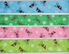 "BB Ribbon CHRISTMAS TEDDY BEAR SNOWFLAKES bulk 5m grosgrain 1 ""/ 25mm xmas"