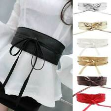 Womens Soft Leather Wide Self Tie Wrap Around Obi Waist Band Boho Dress Belt