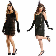 Adult Flapper Costume - Black - Roaring 20's  SM or ML or Plus fnt
